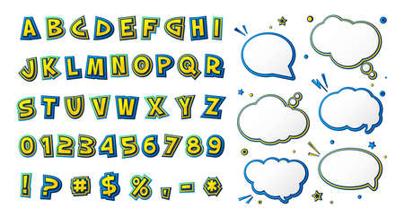 Comics font, kid's alphabet in style of pop art. Multilayer yellow-blue letters with halftone effect and set of speech bubbles for decoration of children's illustrations, posters, advertising Archivio Fotografico - 134325261