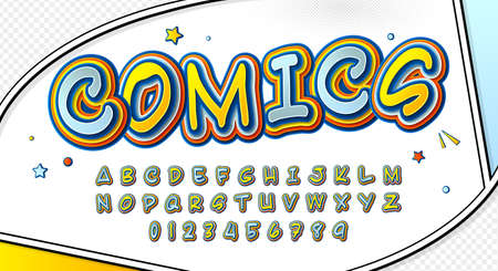 Funny comics font, kid's alphabet in style of pop art. Multilayer yellow-blue letters with halftone effect on comic book page for decoration of children's illustrations, posters, advertising. Archivio Fotografico - 134325259