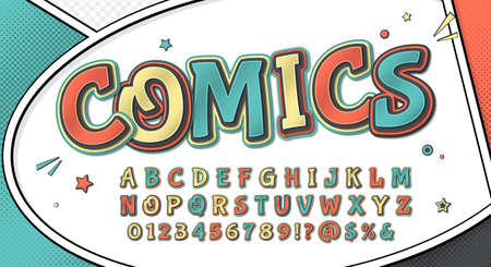 Comics font, funny kid's alphabet in style of pop art. Multilayer retro letters with halftone effect on comic book page for decoration of children's illustrations, posters, advertising Archivio Fotografico - 134325263