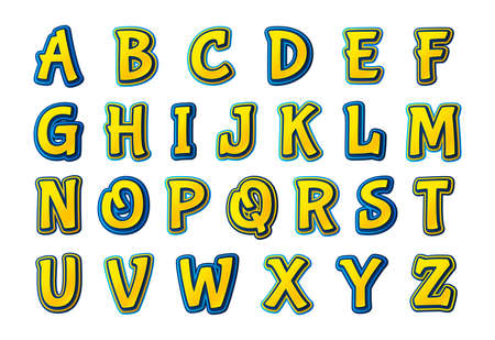 Colorful comics font, kid's alphabet in style of pop art. Multilayer funny yellow-blue letters on comic book page with speech bubbles for decoration of children's illustrations, posters. Archivio Fotografico - 134325265