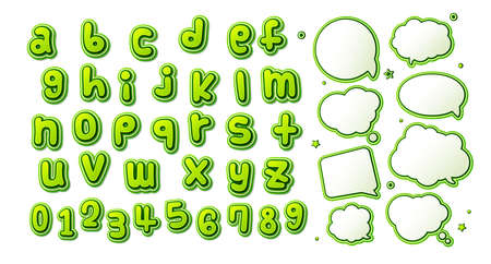 Comics font, kid's alphabet in style of pop art. Multilayer green letters with halftone effect and set of speech bubbles for decoration of children's illustrations, posters, advertising Archivio Fotografico - 134325284