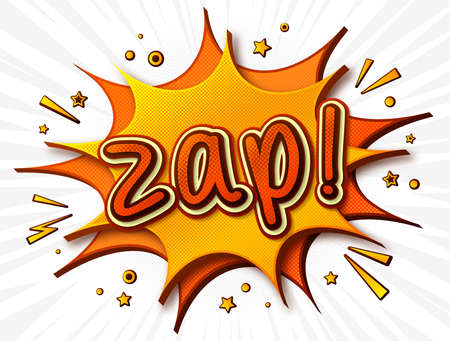 Zap Comics poster. Thought bubble and sound effects. Colorful funny banner in pop art style. Yellow-orange cartoon banner with halftone effect. Vector illustration Archivio Fotografico - 134325300