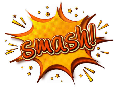 Smash Comics poster. Thought bubble and sound effects. Colorful funny banner in pop art style. Yellow-orange cartoon banner with halftone effect. Vector illustration Archivio Fotografico - 134325310