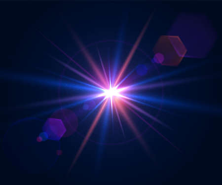 Lens flare of camera. Shining cinematic effect shooting against the sun. Sparkling light effects of flash with colorful twinkle. Beautiful glare effect with bokeh, glitter particles and rays Illustration