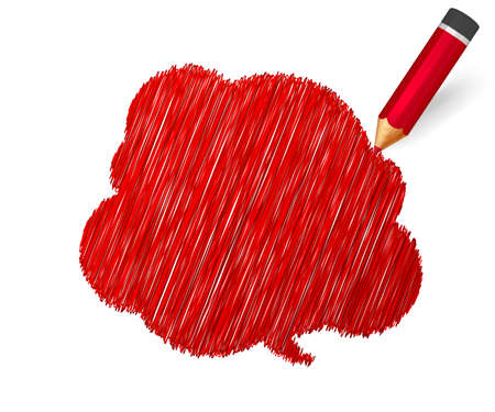 Sketch pencil drawing. Hand drawn speech bubble on white background. Colorful doodles banner with shading of red crayon and place for message. Cloud of scribble, lines stroke Archivio Fotografico - 135137625