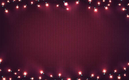 Xmas background with christmas lights. Holiday glowing garlands of LED light bulbs on knitted texture. Decorations of realistic colorful lamps for new year cards or poster. Horizontal vector. Archivio Fotografico - 134781456