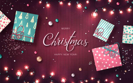 Xmas background with christmas lights, baubles, gift boxes and confetti. Holiday glowing garlands of LED light bulbs on knitted texture. Decorations of realistic colorful lamps for new year cards Archivio Fotografico - 135170337