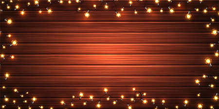 Christmas lights. Xmas glowing garlands of LED light bulbs on wooden texture. Holiday decorations of realistic colorful lamps for new year greeting card, poster. Horizontal vector background Archivio Fotografico - 134781638