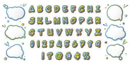 Comics font, kids alphabet in style of pop art. Multilayer yellow-blue letters with halftone effect and set of speech bubbles for decoration of childrens illustrations, posters, advertising Archivio Fotografico - 135170623