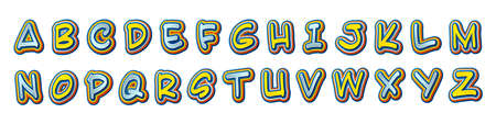 Colorful comics font, kid's alphabet in style of pop art. Multilayer funny yellow-blue letters on comic book page with speech bubbles for decoration of children's illustrations, posters. Archivio Fotografico - 134783077