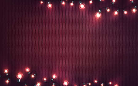 Xmas background with christmas lights. Holiday glowing garlands of LED light bulbs on knitted texture. Decorations of realistic colorful lamps for new year cards or poster. Horizontal vector Archivio Fotografico - 134786464