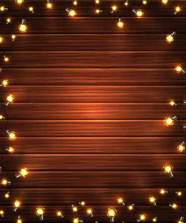 Christmas lights. Xmas glowing garlands of LED light bulbs on wooden texture. Holiday decorations of realistic colorful lamps for new year greeting card or poster. Vertical background. Archivio Fotografico - 134786427