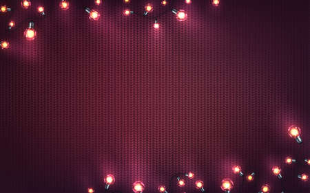 Xmas background with christmas lights. Holiday glowing garlands of LED light bulbs on knitted texture. Decorations of realistic colorful lamps for new year cards or poster. Horizontal vector. Archivio Fotografico - 134786456