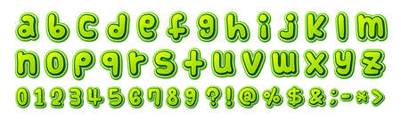 Colorful comics font, kids alphabet in style of pop art. Multilayer funny green letters on white background for decoration of childrens illustrations, posters. Archivio Fotografico - 135171988