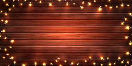 Christmas lights. Xmas glowing garlands of LED light bulbs on wooden texture. Holiday decorations of realistic colorful lamps for new year greeting card, poster. Horizontal vector background Archivio Fotografico - 134788909