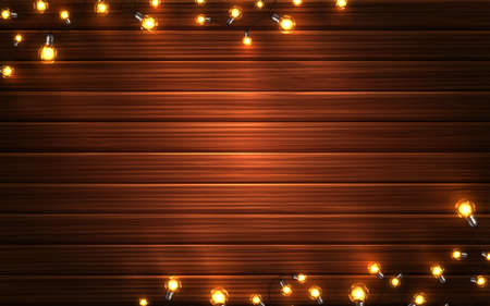 Christmas lights. Xmas glowing garlands of LED light bulbs on wooden texture background. Holiday decorations of realistic colorful lamps for new year greeting card or poster. Archivio Fotografico - 134788910