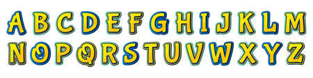 Colorful comics font, kid's alphabet in style of pop art. Multilayer funny yellow-blue letters on comic book page with speech bubbles for decoration of children's illustrations, posters. Archivio Fotografico - 134789440