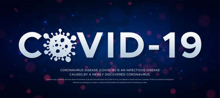 Outbreak of Coronavirus disease 2019-nCoV, banner about the infectious disease. header Covid -19 and silhouette of virus on blue background .Global epidemic threatens peoples health concept. Vector