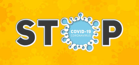 Information banner about coronavirus disease 2019-nCoV. Stop the infectious disease COVID-19. Paper art of silhouette of virus and text. Global epidemic threatens peoples health Ilustração