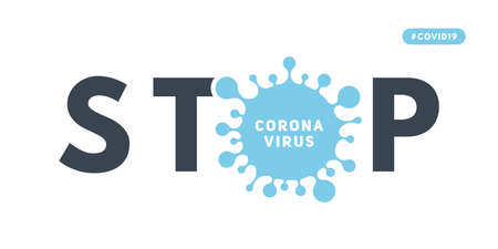 Stop the infectious disease COVID-19. Information banner about outbreak of coronavirus disease (2019-nCoV). Global epidemic threatens people's health Ilustração