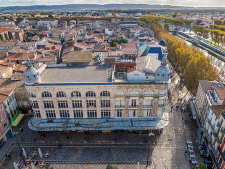 cenital square Domitia, emblematic building on the part of the historic center of Narbonne, the Robine canal and the historic center of Narbonne. France