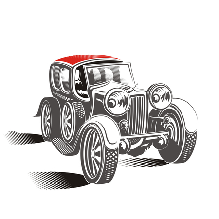 Drawing - cartoon retro car on a white background photo