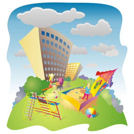 residential neighborhood: Colored drawing of the playground residential neighborhood on a sunny summer day Stock Photo