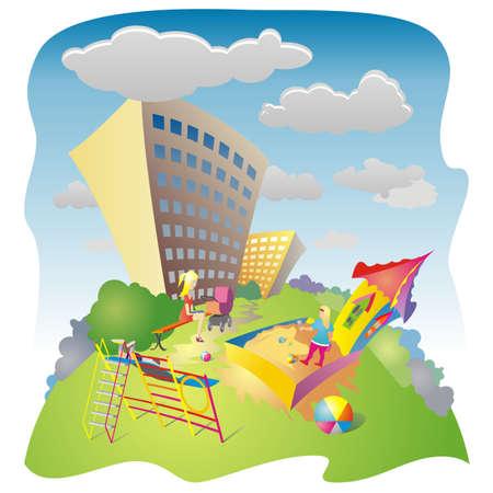 residential neighborhood: Dibujo coloreado de la zona residencial y parque en un d�a soleado de verano