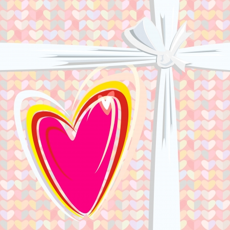 Drawing a heart on the gift box to the day of lovers Vector
