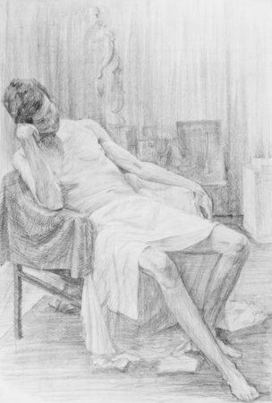 Drawing of a sitting sitter pictorial in art studio Stock Photo - 26626479