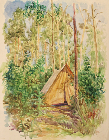 Watercolor yellow tarpaulin tourist tents in the forest Stock Photo
