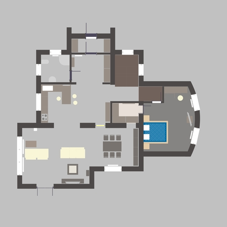 Floor plan of an apartment house with furniture Illustration