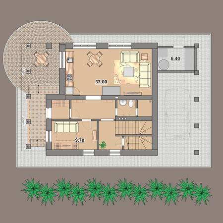 Floor plan of an apartment house with furniture photo