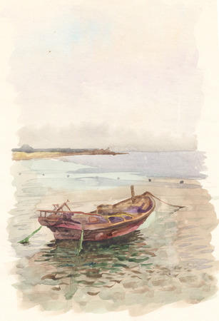 Landscape boat on the summer lake color watercolor photo