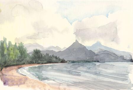 Landscape summer lake color watercolor on paper photo