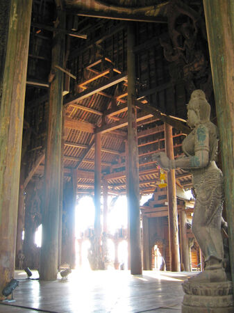 cult: Wooden temple cult beautiful architectural structure east Editorial