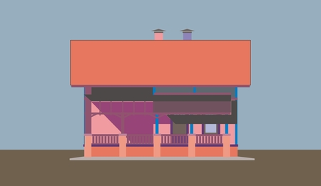 homely: Illustration of multi-colored apartment building, made ??in the style of application