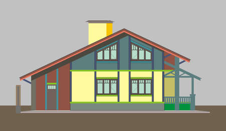 premises: Illustration of multi-colored apartment building, made ??in the style of application