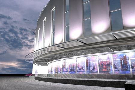 constructivism: Color  slide public office hotel building of modern architecture
