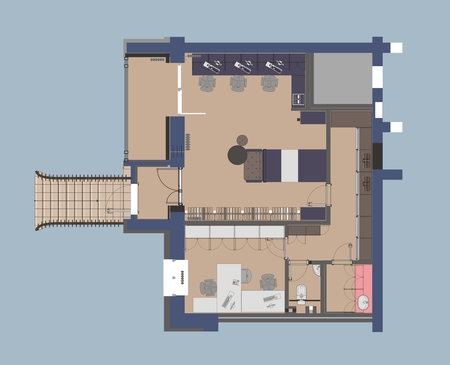 small office: Plan a small office with straddling furniture Illustration