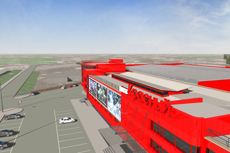 constructivism: Shopping mall color slide public office building Stock Photo