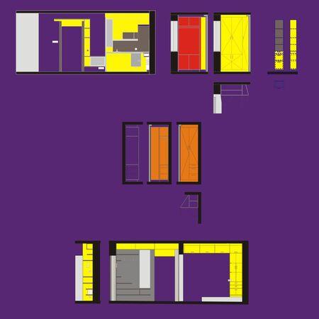 premises: Drawing walls of residential premises interior color