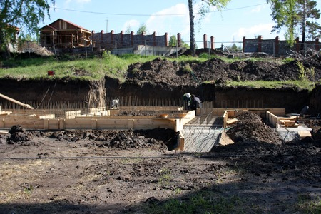 mounting: Foundation work at the construction site of the building