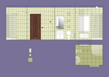 ceramic tile: Drawing wall and floor ceramic tile bathroom Stock Photo