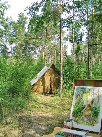 openair: Watercolor painting tourist tent in the woods with nature Stock Photo
