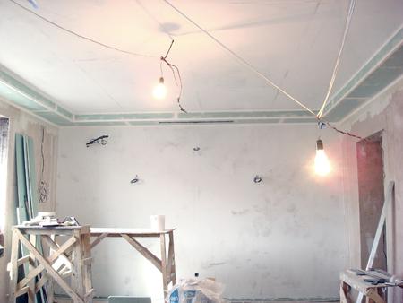 finishing: Construction finishing work inside the premises the ceiling Stock Photo