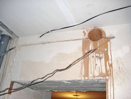 constructivism: Construction finishing work inside the premises the ceiling Stock Photo