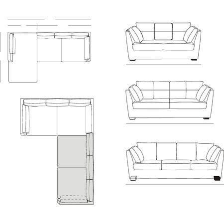 furniture design: Outline Illustration of the Couch Plan Illustration