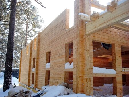 constructivism: On the construction of a wooden cottage Stock Photo