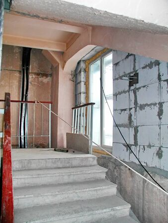 crumbling: Old concrete crumbling staircase industrial building loft
